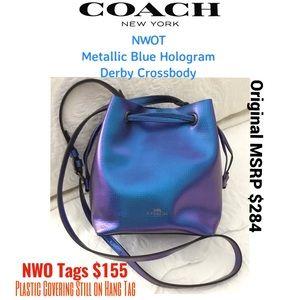 NWOT COACH Metallic Blue Hologram Derby Crossbody